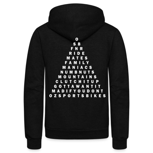 Mens OSB Pyramid ZIPPER Hoodie WHITE TEXT - Unisex Fleece Zip Hoodie