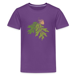 Acorn and oak leaf illustration - Kids' Premium T-Shirt
