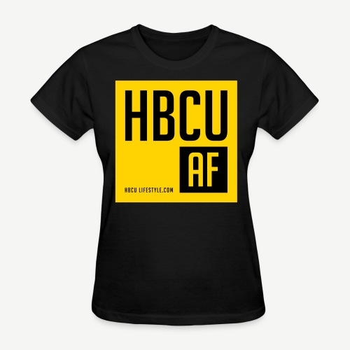 HBCU AF - Women's Black and Gold T-shirt - Women's T-Shirt