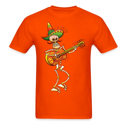Mexican Skeleton Playing Guitar Tee - Men's T-Shirt
