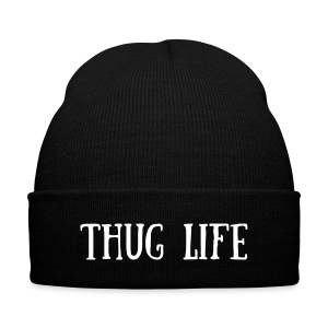 THUG LIFE beanie hat - Knit Cap with Cuff Print