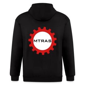 MTRAS Sprocket Metallic Silver & Red Zipper Hoodie - Men's Zip Hoodie