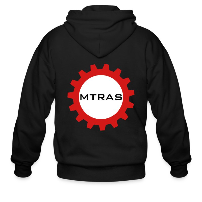 MTRAS Sprocket Metallic Silver & Red Zipper Hoodie - Men's Zip Hoodie