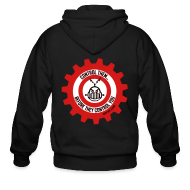 Zip Hoodies & Jackets ~ Men's Zip Hoodie ~ MTRAS Control The Robots Metallic Silver & Red Zipper Hoodie