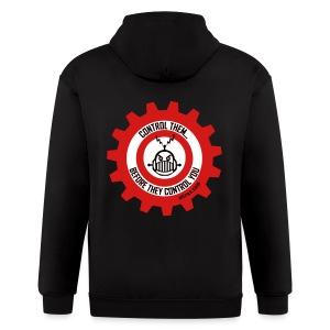 MTRAS Control The Robots Metallic Silver & Red Zipper Hoodie - Men's Zip Hoodie