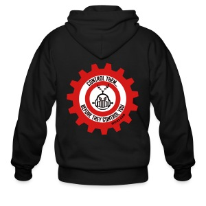 MTRAS Control The Robots Metallic Silver & Red Zipper Hoodie - Men's Zip Hoodie