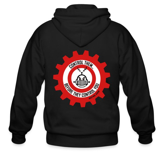 MTRAS Control The Robots Metallic Silver & Red Zipper Hoodie