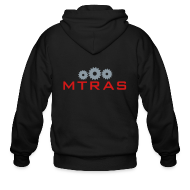 Zip Hoodies & Jackets ~ Men's Zip Hoodie ~ MTRAS Sprockets Metallic Silver & Red Zipper Hoodie