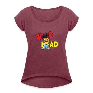 Womens top- video head logo - Women's Roll Cuff T-Shirt