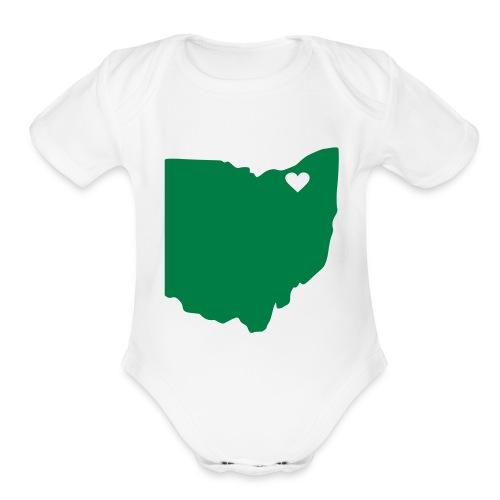 Ohio Heart Cleveland - Organic Short Sleeve Baby Bodysuit