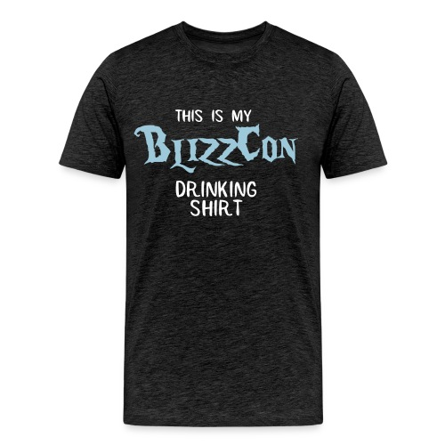 BlizzCon Drinking Shirt (White/Blue Text) - Men's Premium T-Shirt