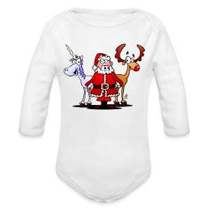 Santa, reindeer, unicorn - Long Sleeve Baby Bodysuit