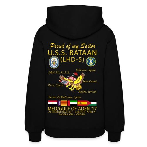 USS BATAAN (LHD-5) 2017 CRUISE HOODIE - FAMILY - WOMENS - LIGHTWEIGHT 50/50 - Women's Hoodie
