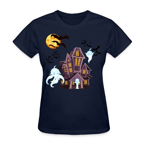 Ghost Mascots Haunted House (Womens) - Women's T-Shirt