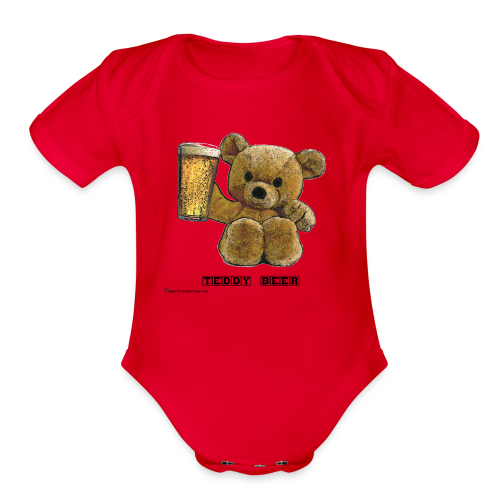 Teddy Beer Short Sleeve Baby Bodysuit - Organic Short Sleeve Baby Bodysuit