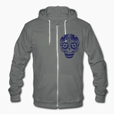 A laughing skull in the style of Sugar Skulls Zip Hoodies/Jackets