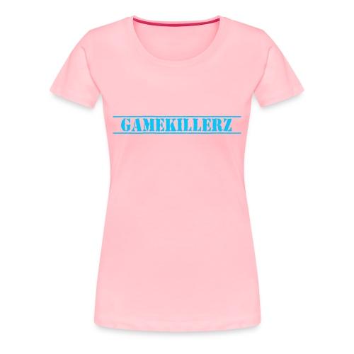 Womens Pink T-Shirt w/ blue logo - Women's Premium T-Shirt