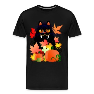 Black Halloween Kitty And Pumpkins - Men's Premium T-Shirt