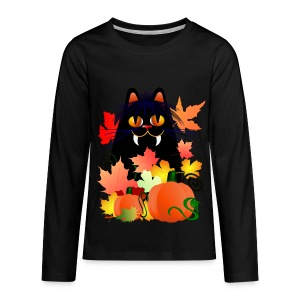 Black Halloween Kitty And Pumpkins - Kids' Premium Long Sleeve T-Shirt