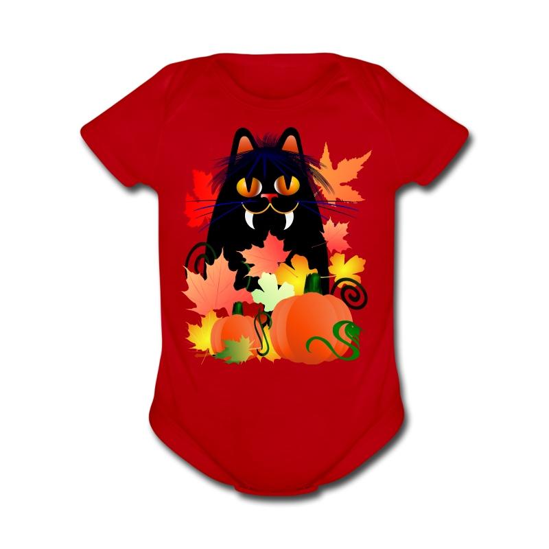 Black Halloween Kitty And Pumpkins - Short Sleeve Baby Bodysuit