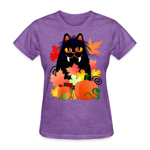 Black Halloween Kitty And Pumpkins - Women's T-Shirt