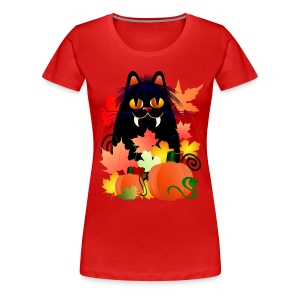Black Halloween Kitty And Pumpkins - Women's Premium T-Shirt