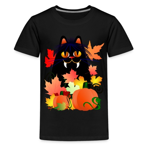 Black Halloween Kitty And Pumpkins - Kids' Premium T-Shirt