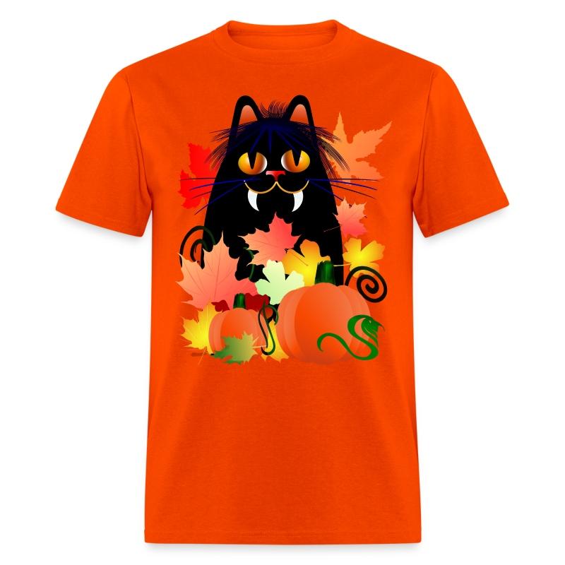 Black Halloween Kitty And Pumpkins - Men's T-Shirt