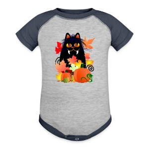 Black Halloween Kitty And Pumpkins - Baby Contrast One Piece