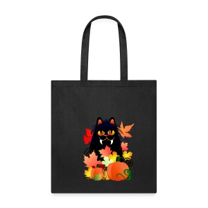 Black Halloween Kitty And Pumpkins - Tote Bag