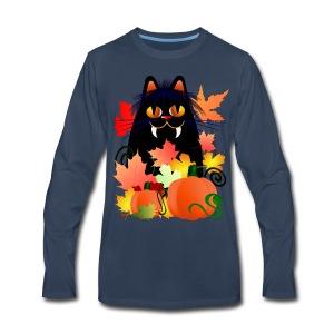 Black Halloween Kitty And Pumpkins - Men's Premium Long Sleeve T-Shirt