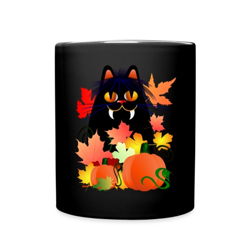 Black Halloween Kitty And Pumpkins - Full Color Mug