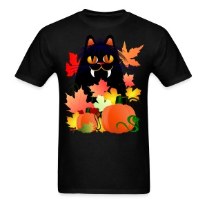 Black Halloween Kitty And Pumpkins - Men's T-Shirt