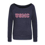 Long Sleeve Shirts ~ Women's Wideneck Sweatshirt ~ USMC Wideneck Sweatshirt
