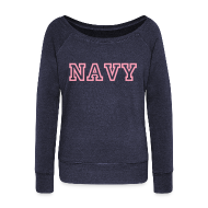 Long Sleeve Shirts ~ Women's Wideneck Sweatshirt ~ NAVY Wideneck Sweatshirt
