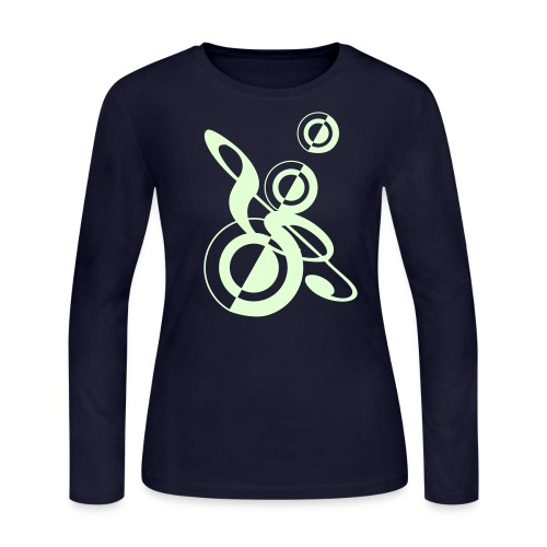Clef n Speakers Glow in the Dark on Women's Long Sleeve Jersey T-Shirt - Women's Long Sleeve Jersey T-Shirt