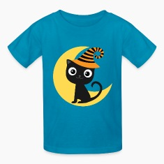 Halloween Black Cat and Moon Kids' Shirts