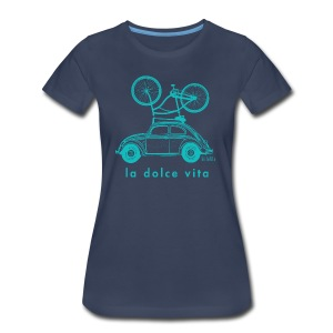BellaVita Women's blue shirt- vintage car and bike - Women's Premium T-Shirt