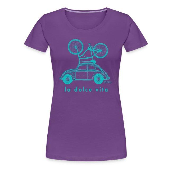 BellaVita Women's blue shirt- vintage car and bike
