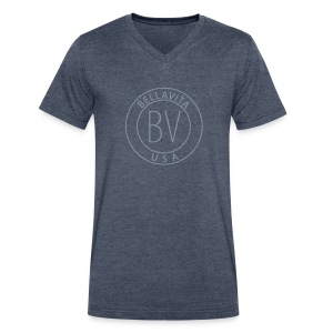 BellaVita Men's blue shirt- BV - Men's V-Neck T-Shirt by Canvas