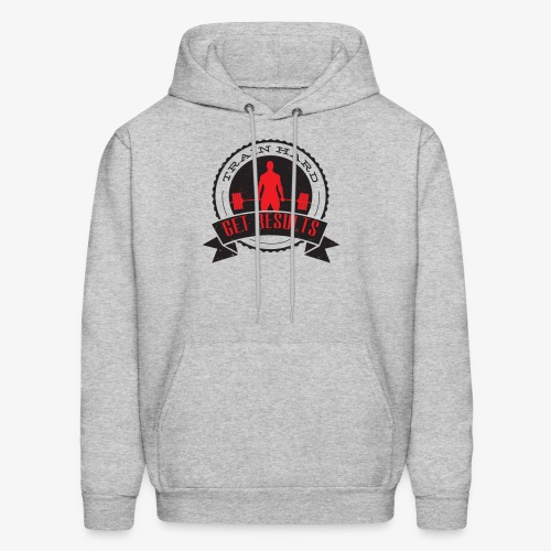 TRAIN HARD CLASSIC HOODIE - Gray & Red - Men's Hoodie