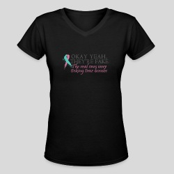 Okay yeah, they're fake BRCA #2 - Women's V-Neck T-Shirt