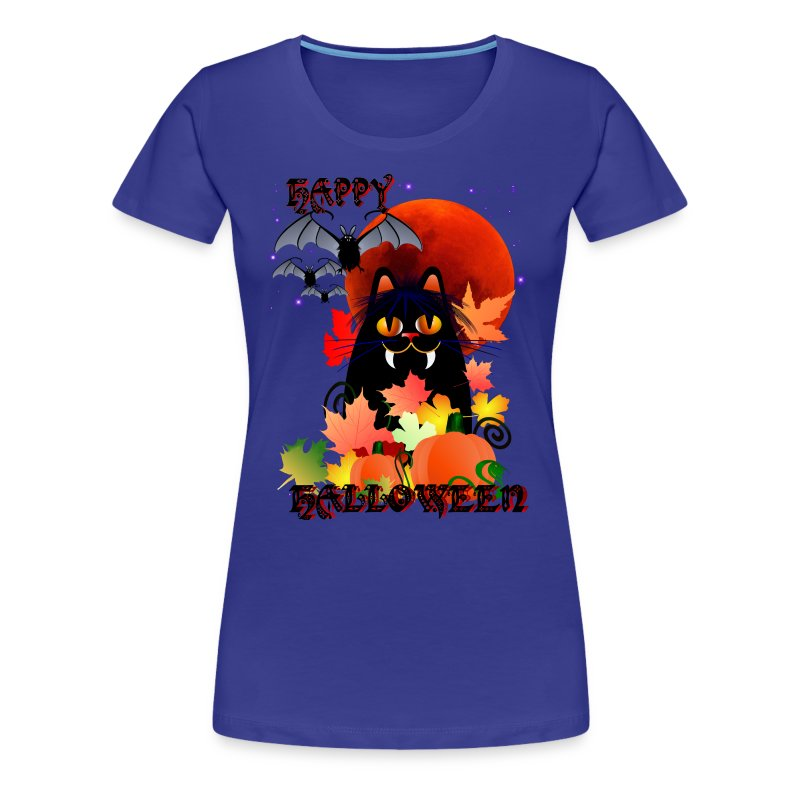 Black Halloween Kitty And Bats - Women's Premium T-Shirt