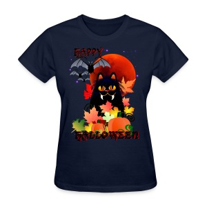 Black Halloween Kitty And Bats - Women's T-Shirt
