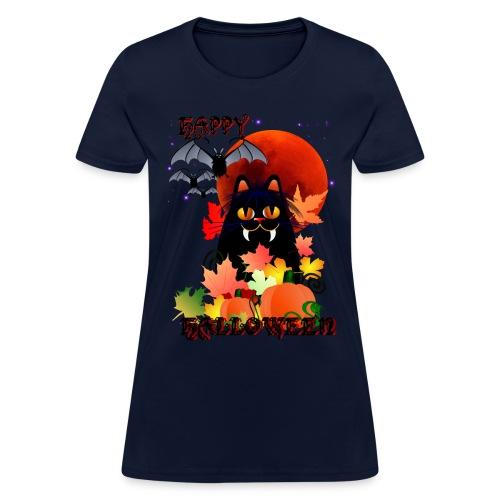 Black Halloween Kitty And Bats - Women's T-Shirt