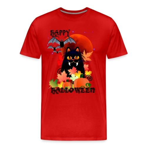 Black Halloween Kitty And Bats - Men's Premium T-Shirt
