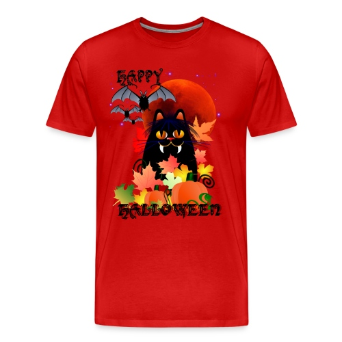 Black Halloween Kitty And Bats - Men's Premium T-Shirt