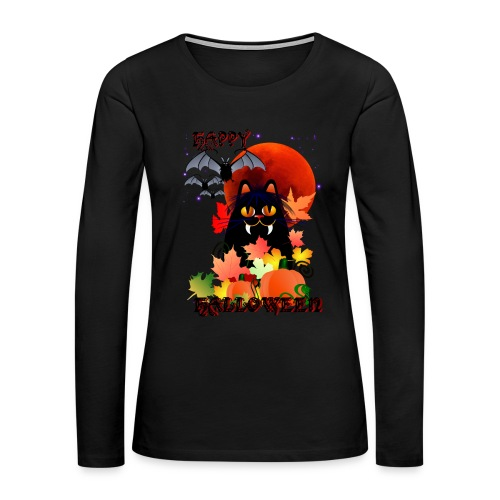 Black Halloween Kitty And Bats - Women's Premium Long Sleeve T-Shirt