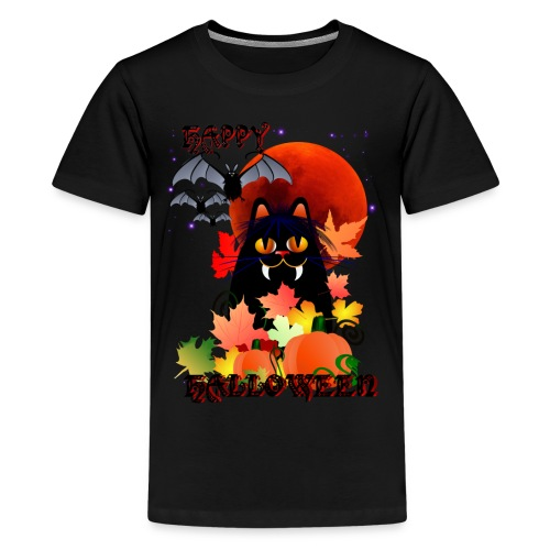 Black Halloween Kitty And Bats - Kids' Premium T-Shirt