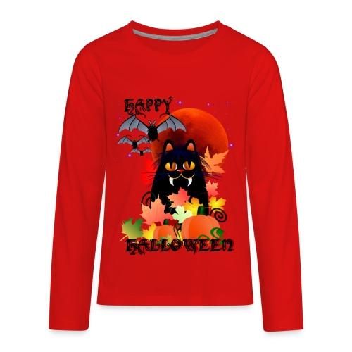 Black Halloween Kitty And Bats - Kids' Premium Long Sleeve T-Shirt